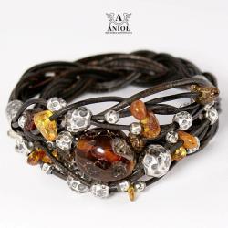 bransoleta z bursztynem,skórzana biżuteria - Bransoletki - Biżuteria
