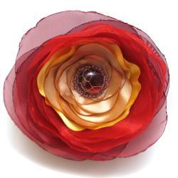 broszka,kwiat,mgiełka,romantyczna,satyna - Broszki - Biżuteria