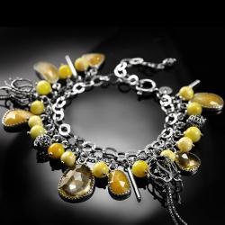 srebrna,bransoletka,cytryn,bursztyn,żółty,szafir - Bransoletki - Biżuteria