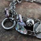 Bransoletki bransoleta srebrna,boho,perły keshi