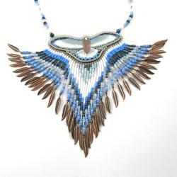 naszyjnik indiański,haft koralikowy - Naszyjniki - Biżuteria