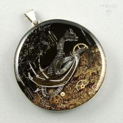 smok Steampunk srebrny,tryb,tryby,wisior smok - Wisiory - Biżuteria