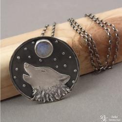 naszyjnik,wilk,wyjący,kamień księżycowy,unikat, - Wisiory - Biżuteria