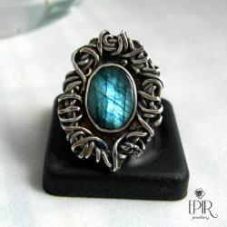 Pierścionek srebrny z labradorytem - Pierścionki - Biżuteria