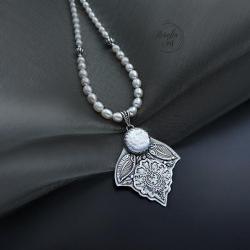 srebrny,naszyjnik,z perłami - Naszyjniki - Biżuteria