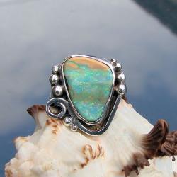 oryginalny,z opalem,okazały - Pierścionki - Biżuteria