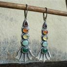Belegaer - srebrne kolorowe kolczyki z kamieniami