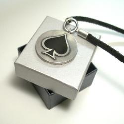 Wisior srebrny,naszyjnik,rzemień,pik - Naszyjniki - Biżuteria