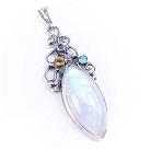 Wisiory srebrny wisior z kamieniem księżycowym,biały