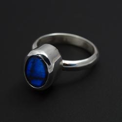 labradoryt,niebieski,pierścionek,srebrny - Pierścionki - Biżuteria