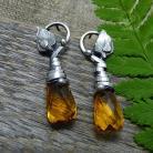 Kolczyki srebrne,eleganckie,organiczne,sztyfty,żółte