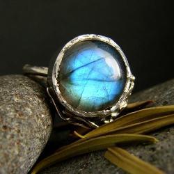 srebro,labradoryt,pierścień,regulowany - Pierścionki - Biżuteria