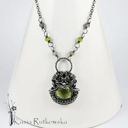 rutkowska,naszyjnik,zielony ametyst,artystyczny - Naszyjniki - Biżuteria