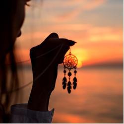wisior z łapaczem snów i kryształami - Wisiory - Biżuteria