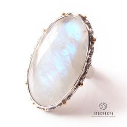 pierścionek regulowany,kamień księżycowy,srebrny - Pierścionki - Biżuteria