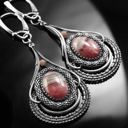 srebrne,kolczyki,wire-wrapping,rodochrozyt,różowe - Kolczyki - Biżuteria