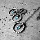 Komplety błekitny,niebieski,z apatytami,srebro oksydowane
