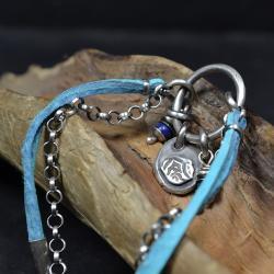 bransoleta z rzemieni,bransoleta z lapis lazuli - Bransoletki - Biżuteria
