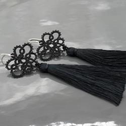 czarne kolczyki,frywolitka,chwosty,boho - Kolczyki - Biżuteria