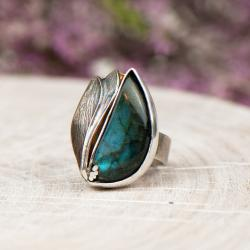 pierścionek srebrny z labradorytem,artseko - Pierścionki - Biżuteria