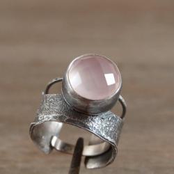 srebrny pierścionek z różowym kwarcem - Pierścionki - Biżuteria