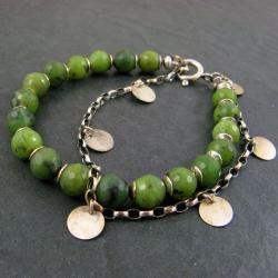 drobna,z nefrytem - Bransoletki - Biżuteria
