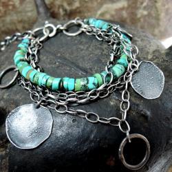 Srebrn,a bransoletka,z turkusami,turkusowa - Bransoletki - Biżuteria