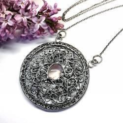 naszyjnik z różowym kwarcem - Naszyjniki - Biżuteria