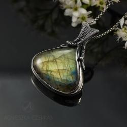 labradoryt,złoty,wire-wraping,wisior,srebro - Wisiory - Biżuteria