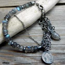 srebrna bransoletka,labradoryt - Bransoletki - Biżuteria