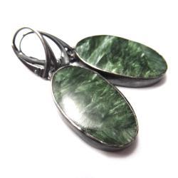 serafinity,srebrne,srebro,blask,zielone,basniowe - Kolczyki - Biżuteria