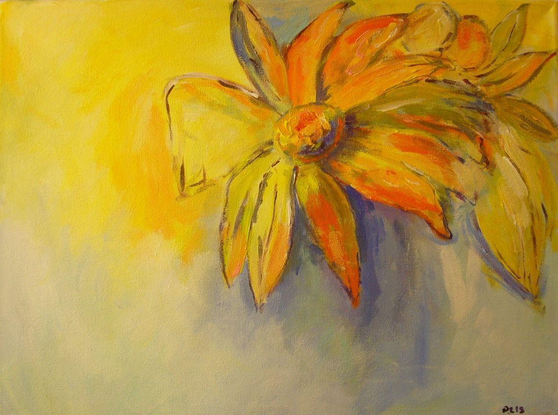 Kwiatyżółteabstrakcjapomarańcz Obrazy Wyposażenie Wnętrz W Arsneo