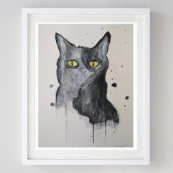 kot,abstrakcja,akwarela, - Obrazy - Wyposażenie wnętrz