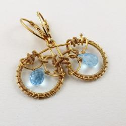 kolczyki,złocone,pozłacane,wire-wrapping,błekitne - Kolczyki - Biżuteria