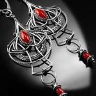 Kolczyki srebrne,kolczyki,wire-wrapping,koral,czerwony,ciba