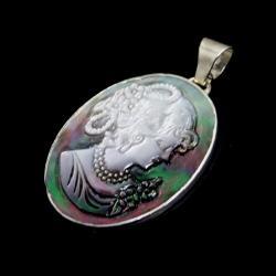 kamea,blask,srebrny,muszla,perła,romantyczny,retro - Wisiory - Biżuteria