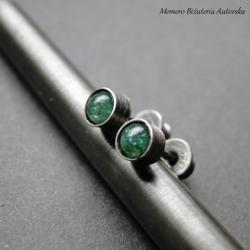 srebro,awenturyn,surowe,sztyfty - Kolczyki - Biżuteria