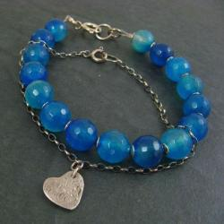 niebieska,z sercem - Bransoletki - Biżuteria