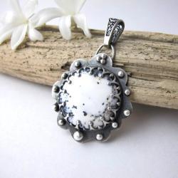 Agat dendrytowy,wisior srebrny - Wisiory - Biżuteria