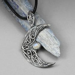 kamień ksieżycowy,srebrne księżyc,elficki,elfi - Wisiory - Biżuteria
