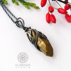wisior z kwarcem tytanowym,alabama studio - Wisiory - Biżuteria