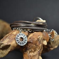 bransoleta rzemienie ze srebrem - Bransoletki - Biżuteria