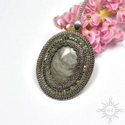 owalny,srebrny,medalion,obsydian,efektowny - Wisiory - Biżuteria
