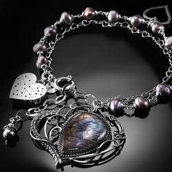 srebrna,bransoletka,wire-wrapping,labradoryt,serce - Bransoletki - Biżuteria