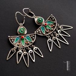 kolczyki srebrne,miedź,metaloplastyka,925 - Kolczyki - Biżuteria