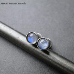 srebro,sztyfty,surowe,księżycowe - Kolczyki - Biżuteria