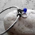 Bransoletki kobaltowa,z kwarcem,z zawieszkami,srebro,modna