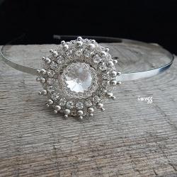 opaska do włosów,rozeta,kryształy,koronki iwogg - Do włosów - Biżuteria