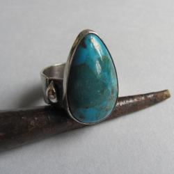 srebro,pierścień,turkus,piryt,obwód regulowany - Pierścionki - Biżuteria