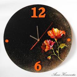 zegar,czarny,kwiaty,kolorowe - Inne - Wyposażenie wnętrz